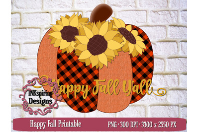 Happy Fall Plaid Pumpkin