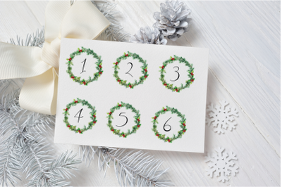 Christmas Watercolor Wreaths Date Covers, Numbers Covers