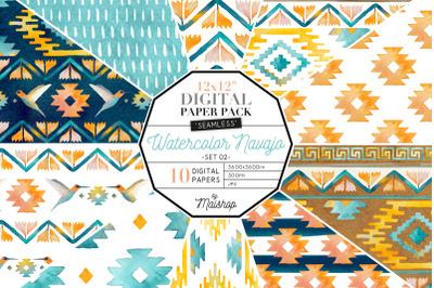 Digital Paper  I  Watercolor Navajo Set 02