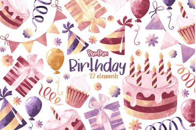 Birthday Watercolor Cliparts