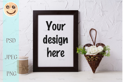 Black brown poster frame mockup with roses in wicker flower pot