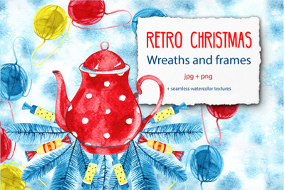Retro Christmas wreaths and frames