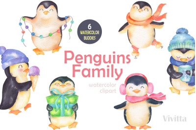 Penguins winter family, watercolor design clip art