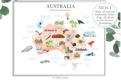 Australia. Watercolor map creator