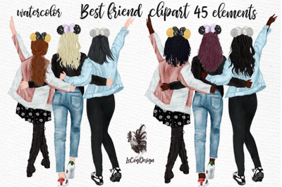 Best Friends Clipart, Girl with mouse ears, Custom besties