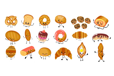 Set of funny bread, bakery characters with human faces, cartoon vector