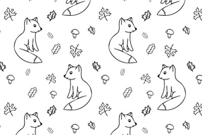 Cute foxes seamless pattern in doodle style