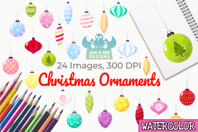 Christmas Ornaments Watercolor Clipart, Instant Download