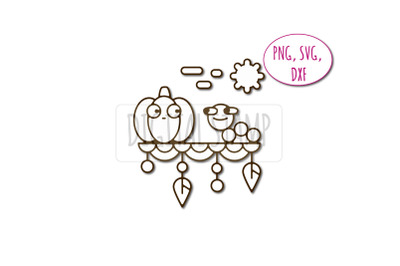 Pumpkin and caterpillar. Friendship Photoshop brush, png, svg, dxf