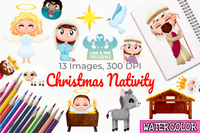 Christmas Nativity Watercolor Clipart, Instant Download