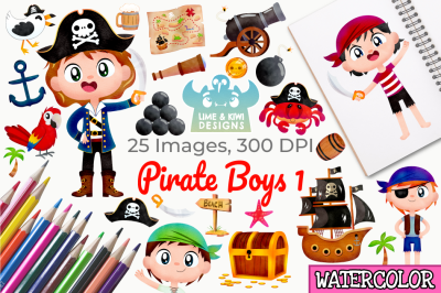 Pirate Boys 1 Watercolor Clipart, Instant Download