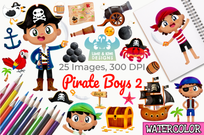 Pirate Boys 2 Watercolor Clipart, Instant Download