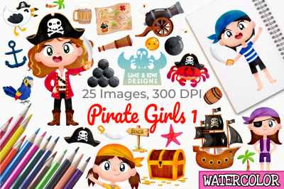 Pirate Girls 1 Watercolor Clipart, Instant Download