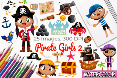Pirate Girls 2 Watercolor Clipart, Instant Download