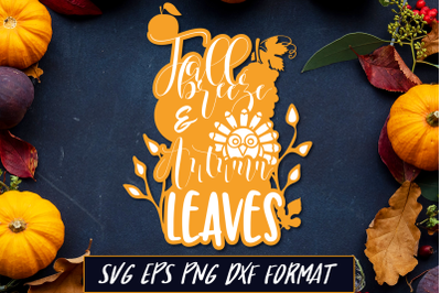 Fall Breeze and Autumn Leaves Thanksgiving SVG Cut File