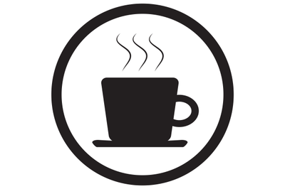 Tea and coffee cup icon black white