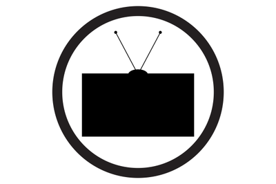 Tv icon black white vector