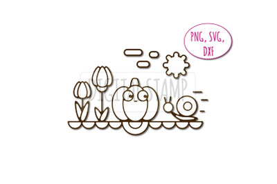 Pumpkin and snail photoshop brush abr, dxf, svg, png. Friendship clipa