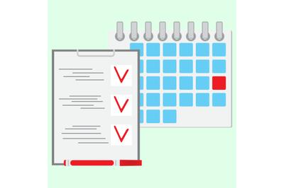 Deadline of daily work concept flat vector