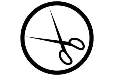 Scissors icon black white vector