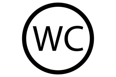 WC toilet icon black white vector