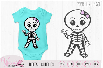 Cute waving skeleton, boy skeleton, girl skeleton, Halloween DIY decor