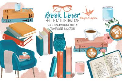 Book Lover: set of 17 illustrations