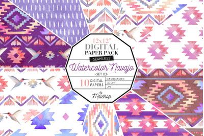 Seamless Digital Paper Pack  - Watercolor Navajo Set 03