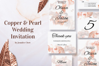 Copper and Pearl Wedding Invitation Suite
