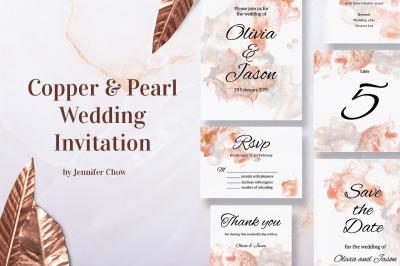 Copper and Pearl Wedding Invitation Suite