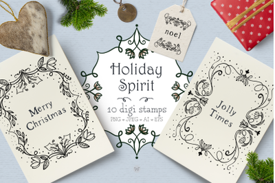 Christmas clipart, digital stamp, winter clipart, vintage clipart