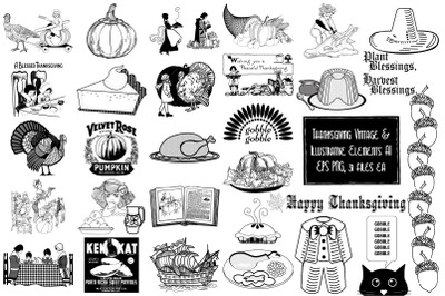 Thanksgiving Vintage and Illustrative Vector and PNG