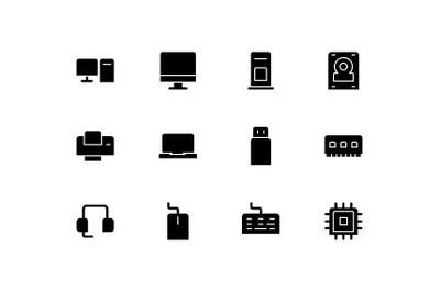 Black computer solid icons vector