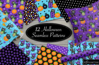Halloween digital paper, Halloween patterns, Halloween Cats -P44
