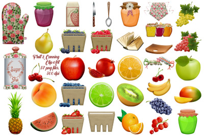 Fruit and Canning Country Shabby Chic Clip Art