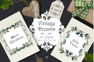 Christmas clipart, winter clipart, frame clipart, vintage clipart