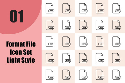 Format File Icon Set Light Style