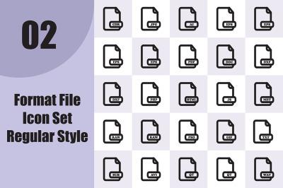 Format File Icon Set Regular Style