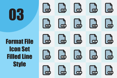 Format File Icon Set Filled Line Style