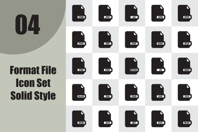 Format File Icon Set Solid Style