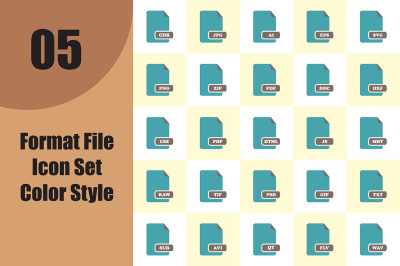 Format File Icon Set Color Style