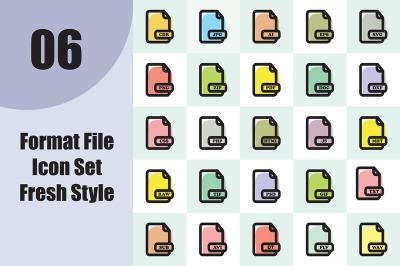 Format File Icon Set Fresh Style