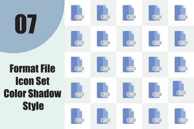 Format File Icon Set Color Shadow Style