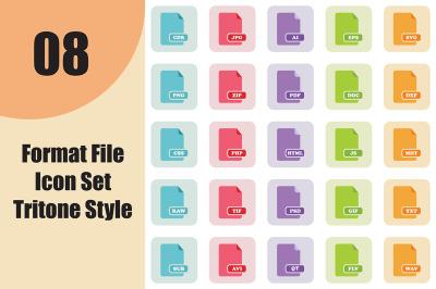 Format File Icon Set Tritone Style