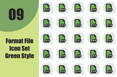 Format File Icon Set Green Style