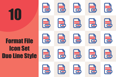 Format File Icon Set Duo Line Style