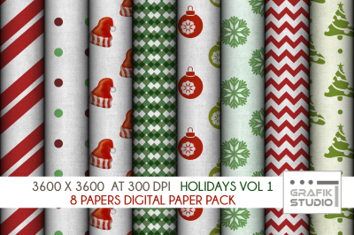 Christmas Holidays Digital Papers Pack VOLUME 1, Seamless Pattern Paper Pack, Seamless Pattern
