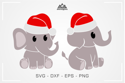 Cute Elephant Christmas Svg Design