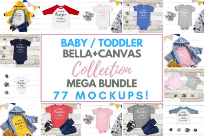 Baby Toddler Bella Canvas Mockup Mega Bundle, Kids Boy Girl Tees