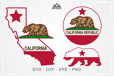 California Republic State Bear Svg Design